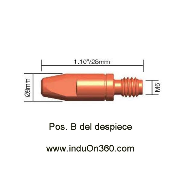 Punta de contacto 1,0mm. M6 CuCrZr Para Antorcha MIG PRO 240/250/360/240W