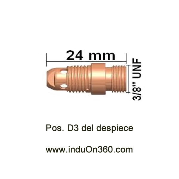 Difusor Stubby. Antorcha TIG PRO 17/18/26. Diámetro 0,5-3,2 mm.