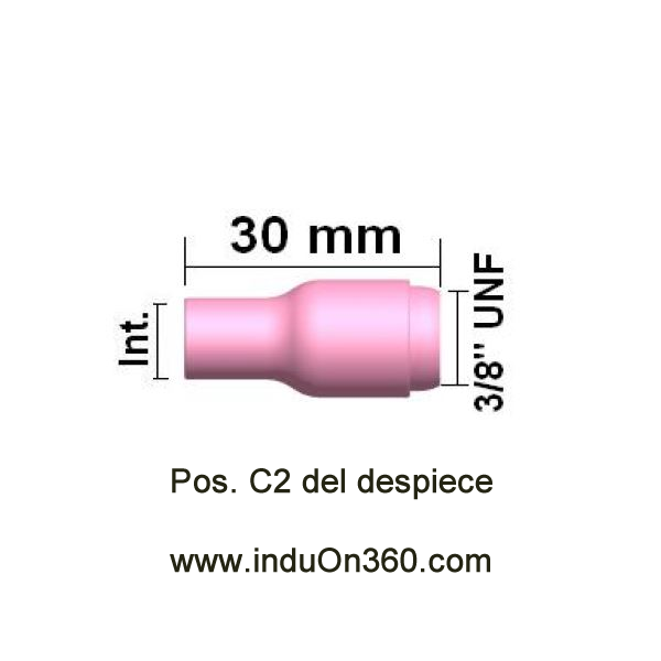 Boquilla cerámica standard nº 8. Diam.int.13 mm. Antorcha TIG PRO 9/20/17/18/26