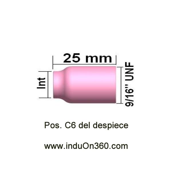 Boquilla cerámica Gas Lens pequeña N 6 Diam. Int.16 mm. Antorcha TIG PRO 9/20