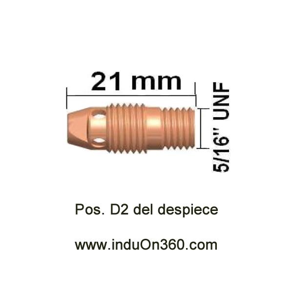 Difusor estándar pequeño. Antorcha TIG PRO 9/20. Diámetro 1,6 mm.