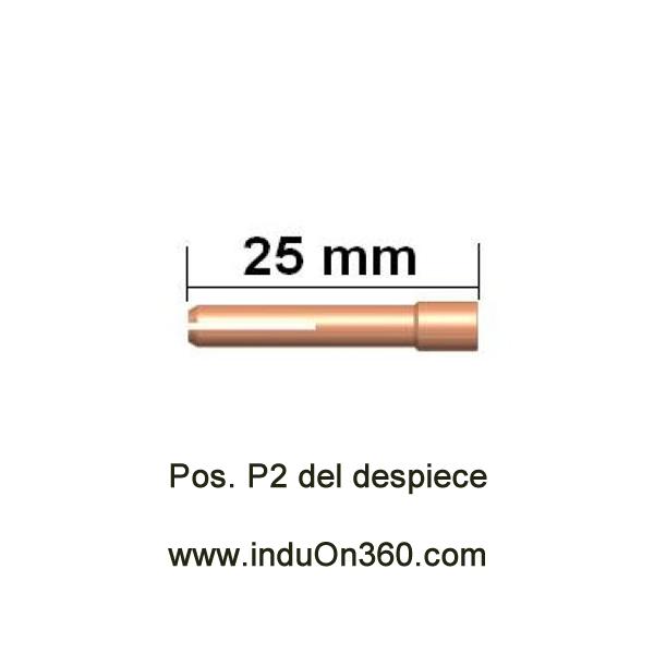 Porta-Tungstenos estándar pequeño. Antorcha TIG PRO 9/20. Diámetro 2,0 mm.