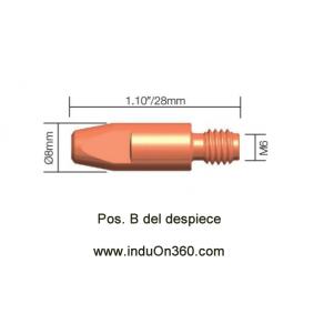 Punta de contacto 0,8mm. M6 Cu Para Antorcha MIG PRO 240/250/360/240W