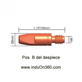 Punta de contacto 1,6mm. M6 Cu Para Antorcha MIG PRO 240/250/360/240W