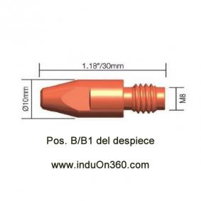 Punta de contacto 1,0mm. M8 Cu Para Antorcha MIG PRO 250/360/400 aire y 400W/500W agua