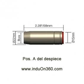 Tobera Boquilla Cónica Antorcha MIG PRO 250A. Aire. Tipo BZL SB (1,75 mm)