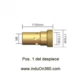 Porta Tubos 25,0 mm M8 para Antorcha MIG PRO 400W/500W agua