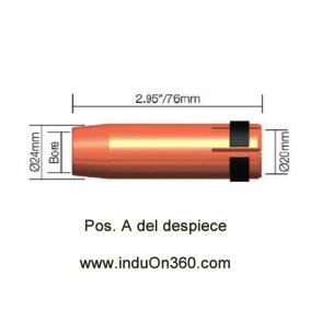 Tobera Boquilla Cilindrica para Antorcha MIG PRO 400W/500W agua